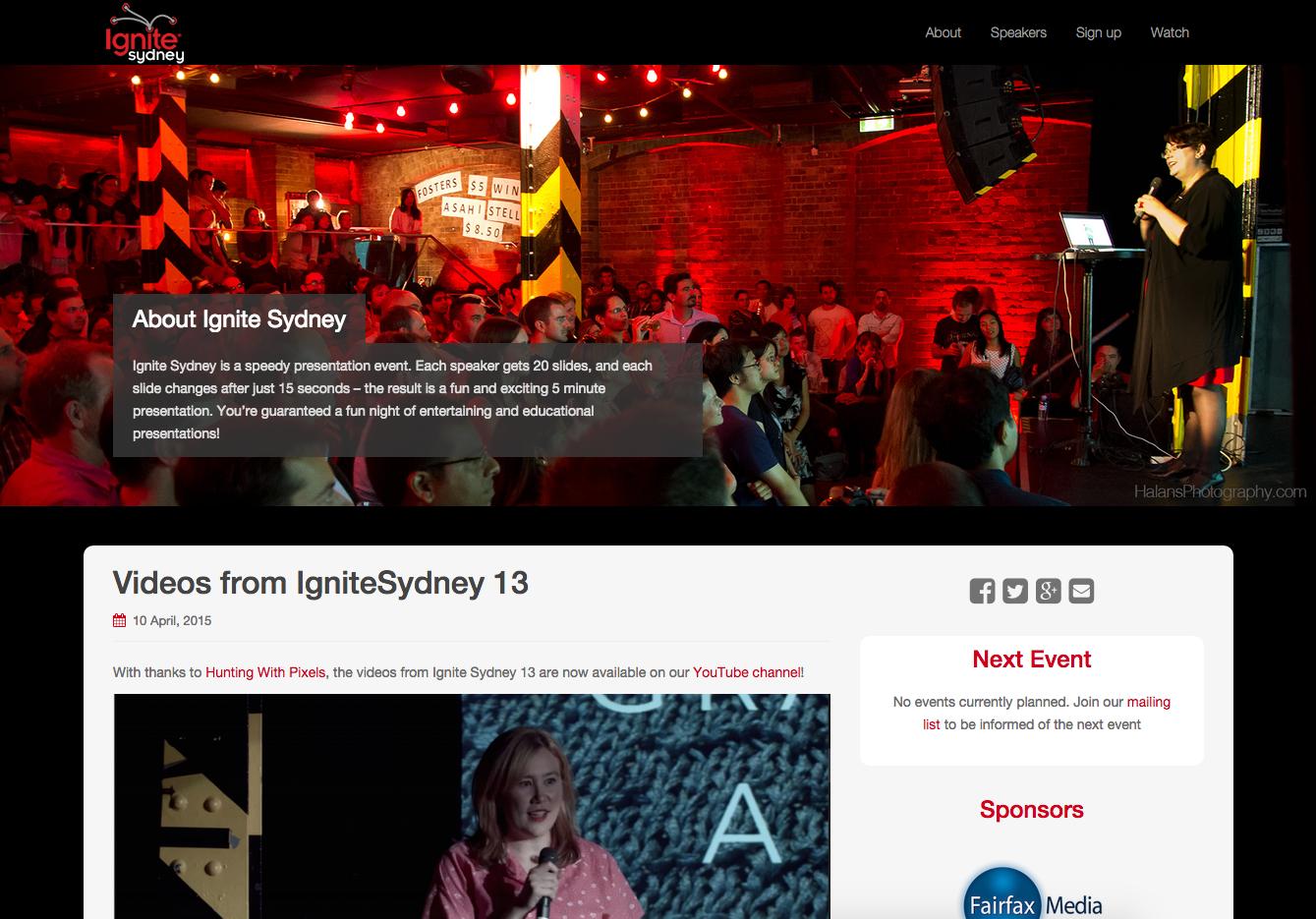 Ignite Sydney homepage