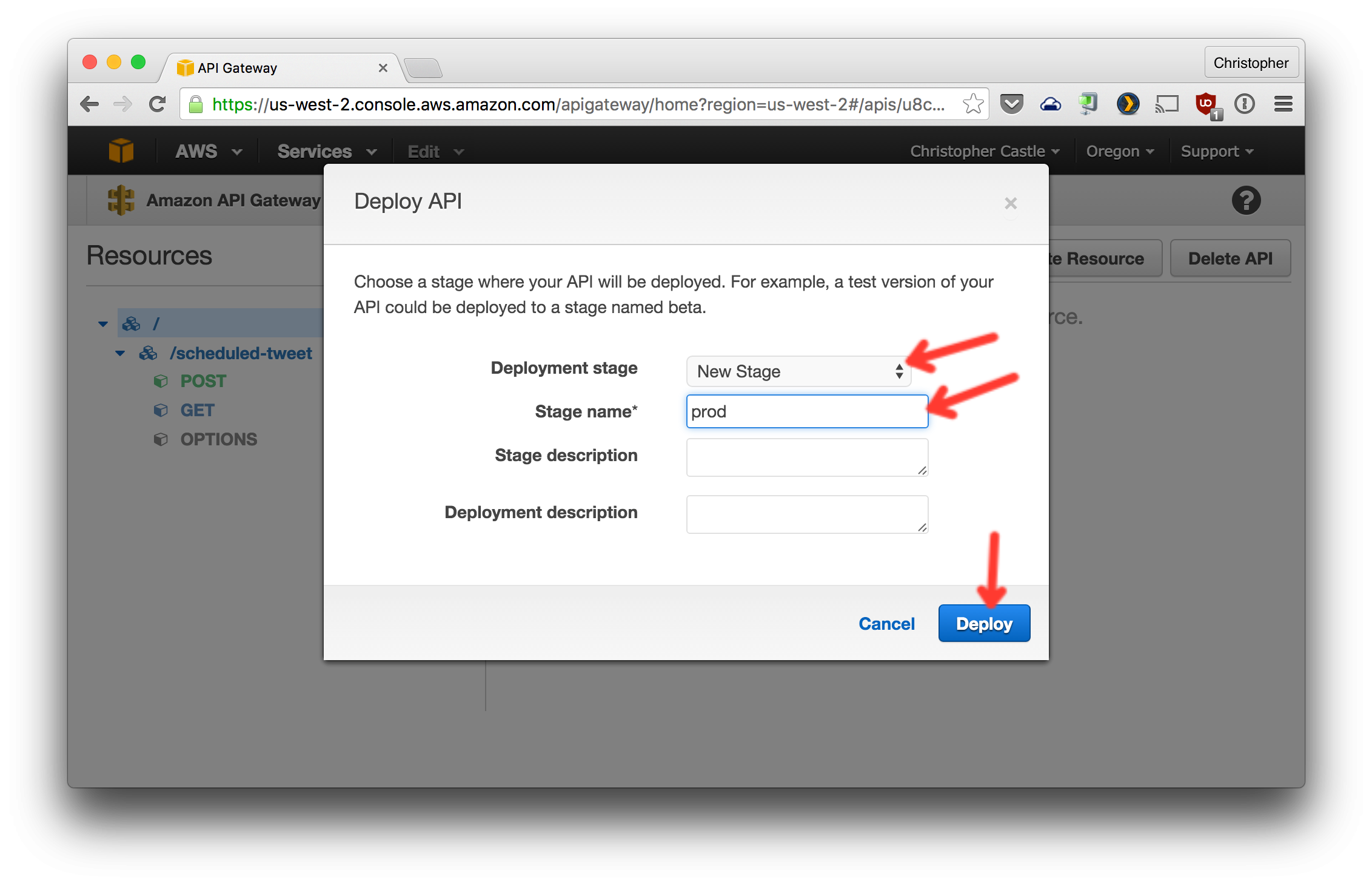Configure deploy and create stage