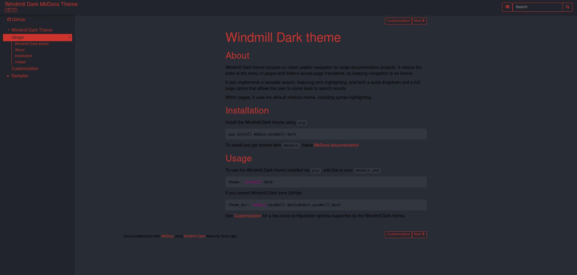 MkDocs Windmill Dark