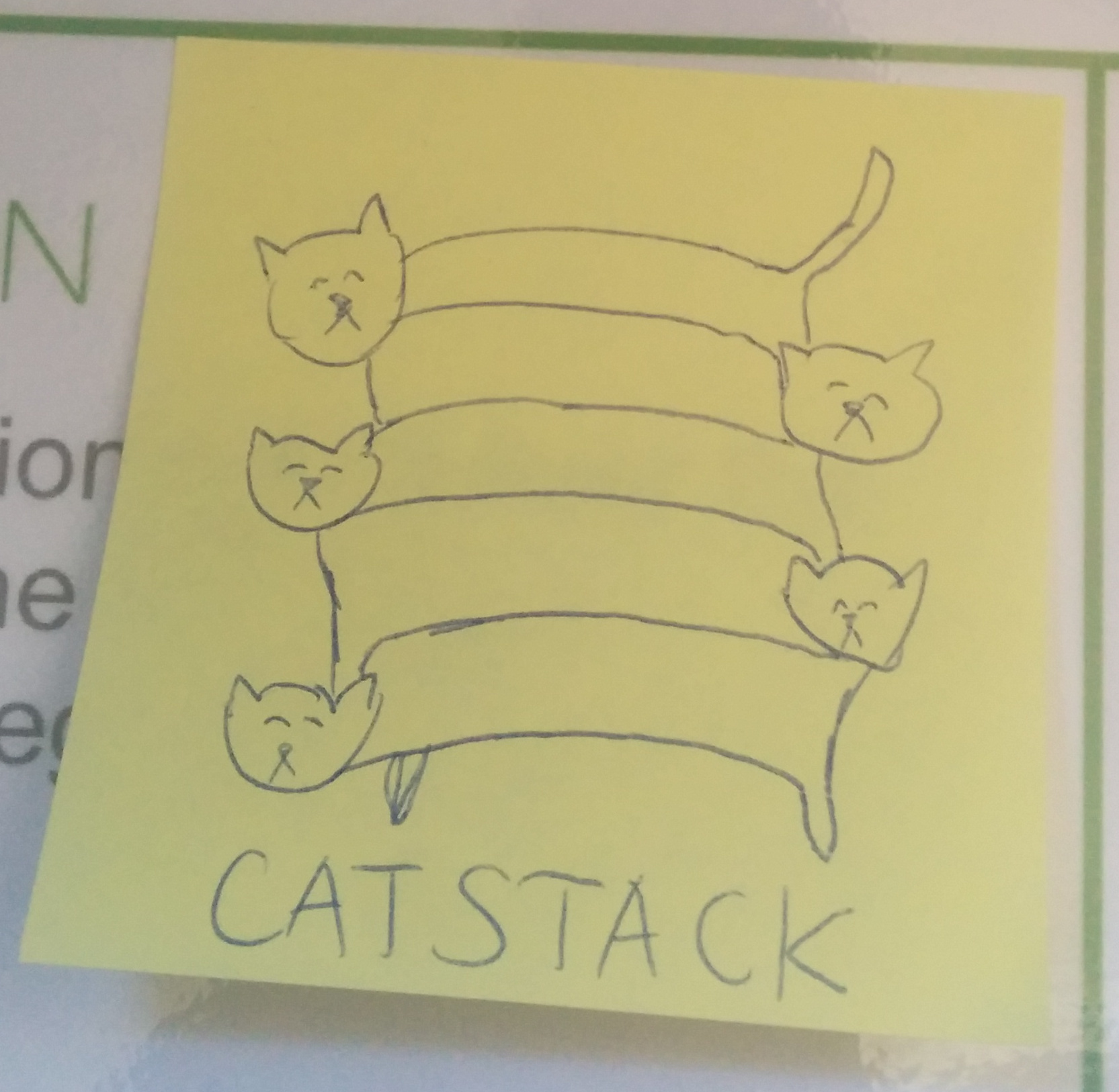 catstack on a post-it note