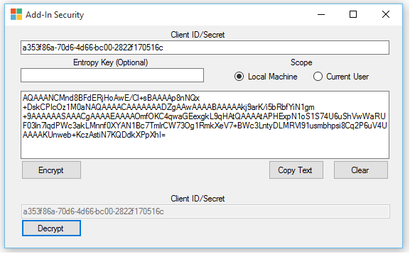 UI of windows form tool for encrypting add-in principals