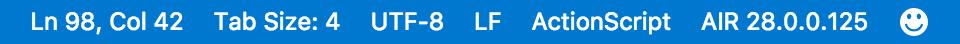 Screenshot of Visual Studio Code status bar with the FlexJS SDK selected