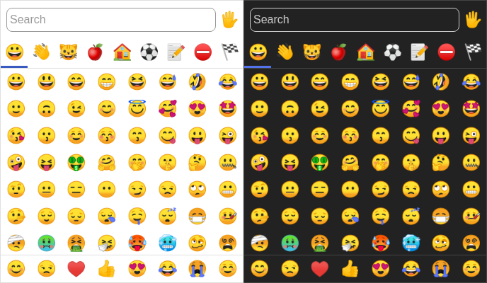 Screenshot of emoji-picker-element in light and dark modes