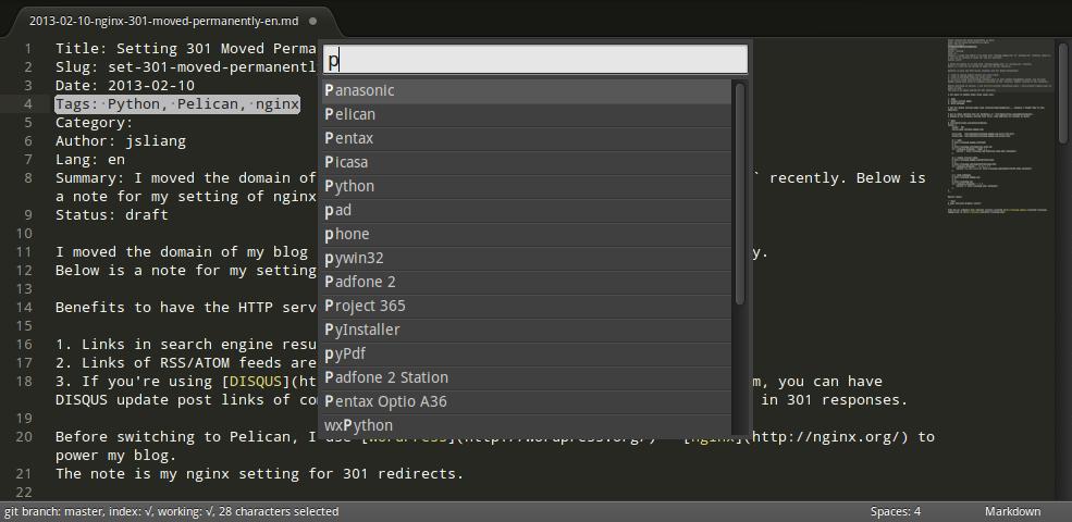 Screenshot of Pelican: Insert Tag