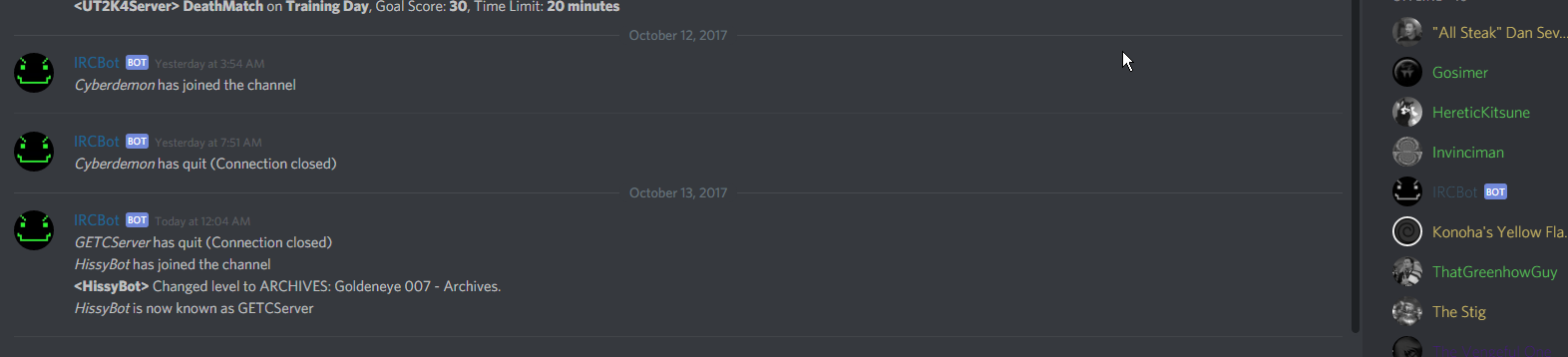 Bot goes offline and stops relaying Discord to IRC (one-way