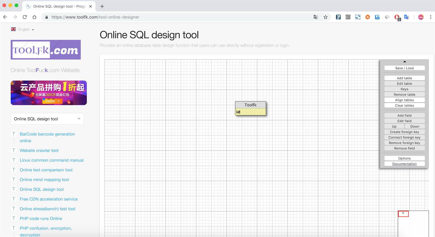 Online Database Design Tool Toolfk Programmer Tool Network