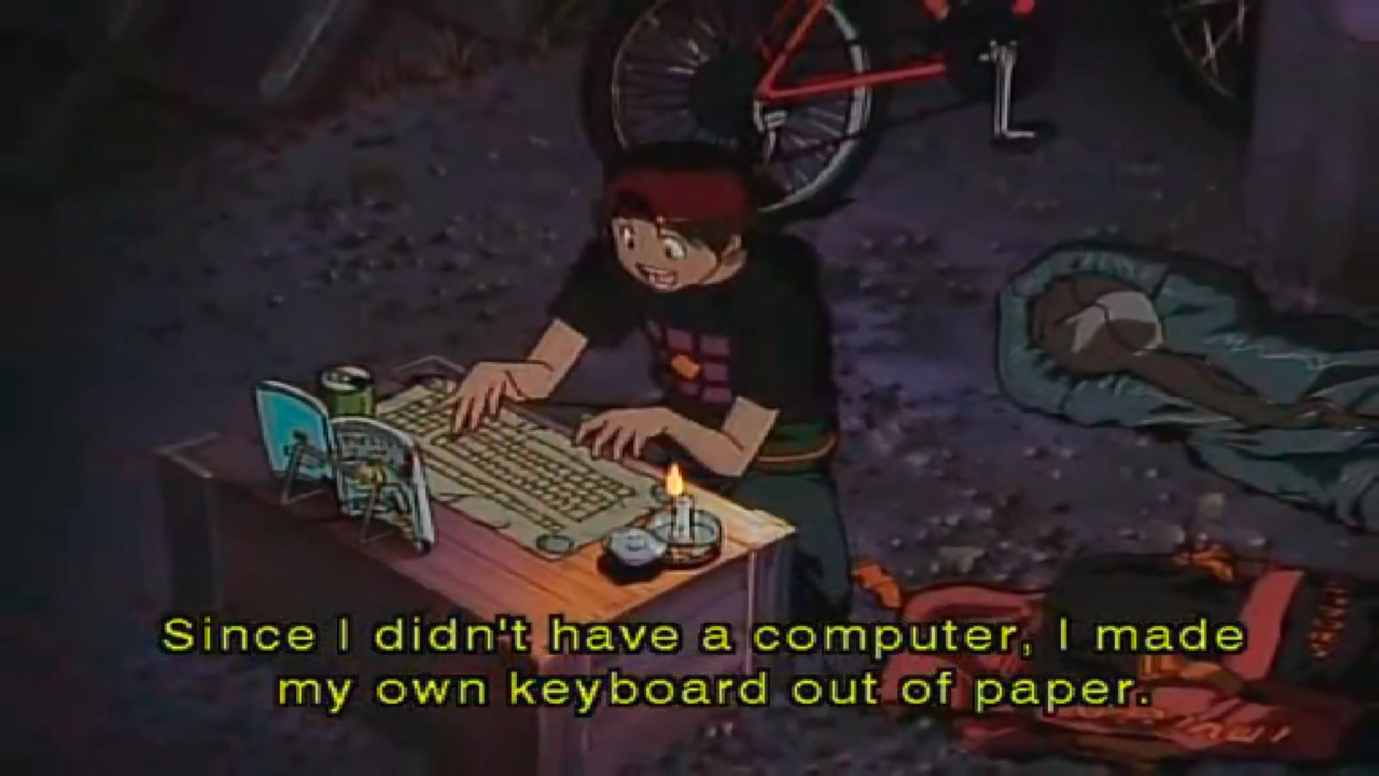 Since I didn't have a computer, I made my own keyboard out of paper. -- Kintaro Oe; Life is Study!