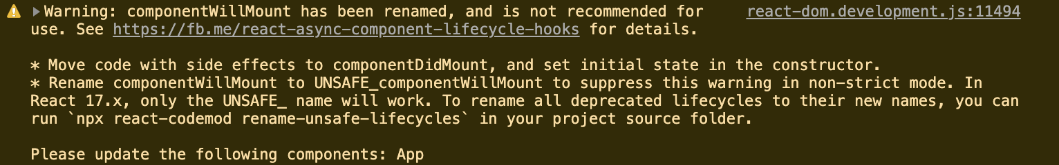 Warning: componentWillMount has been renamed, and is not recommended for use.