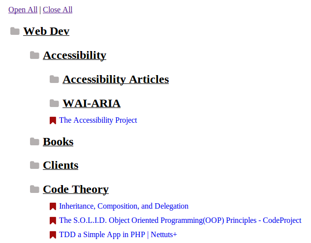 HTML bookmarks output