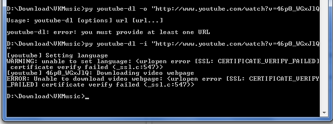 ERROR: Unable to download video webpage: <urlopen _FAILED ...