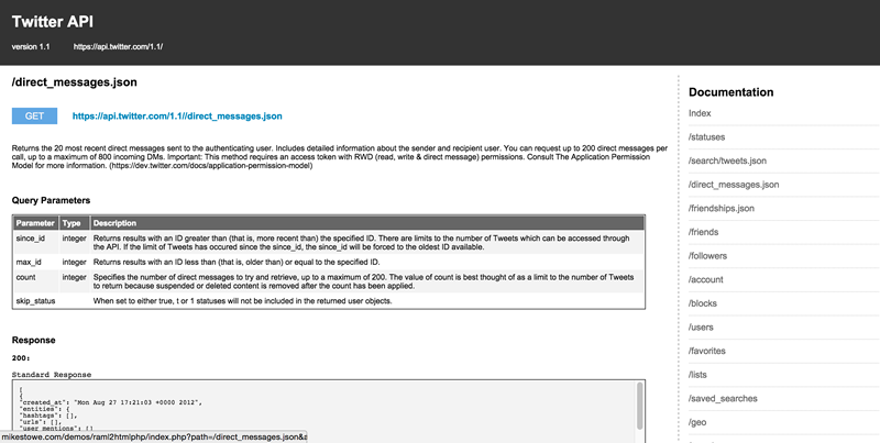 An example screenshot of documentation produced using php-raml2html