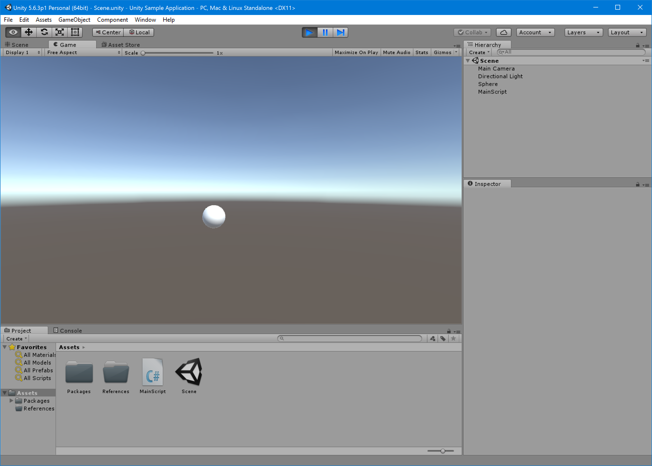 Unity sample application