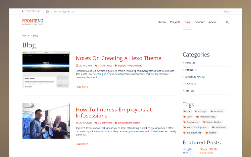 Hexo Corporate blog page.