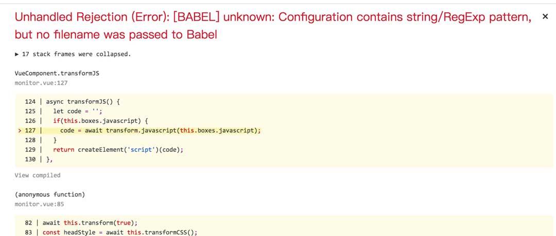 ADD @BABEL - babel/standalone transform failed when using
