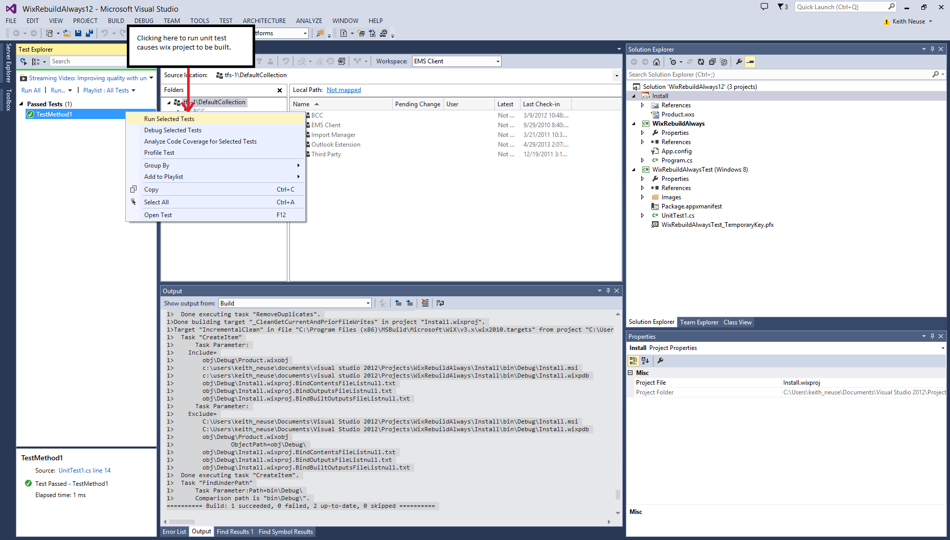 Wix projects rebuild when running unit tests in Visual Studio 2013