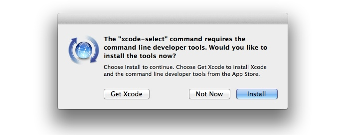 Xcode 5 command line tool installation