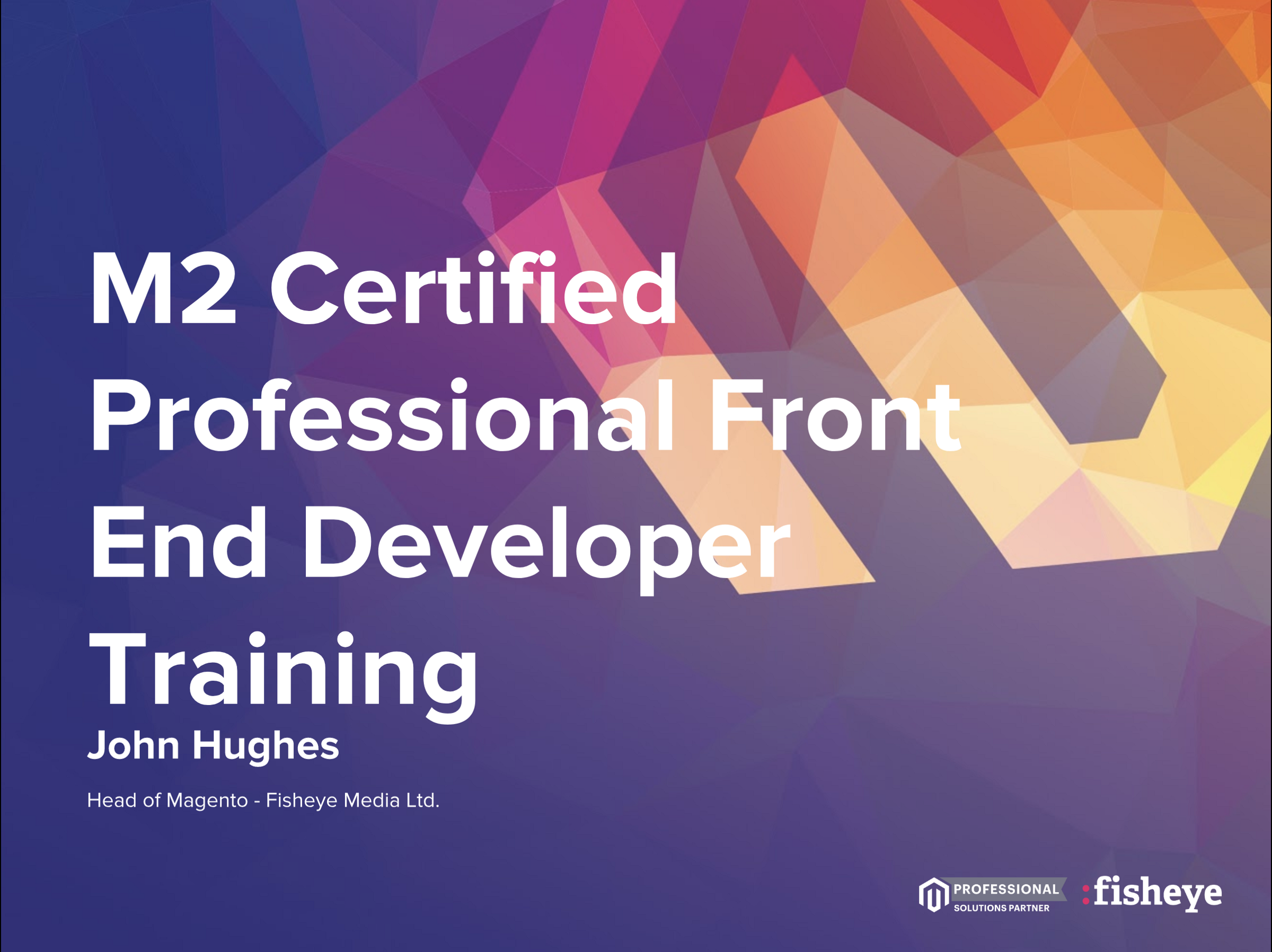 M2 Certified Professional Front End Developer Training