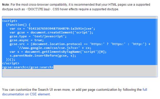 Google Custom Search - Code