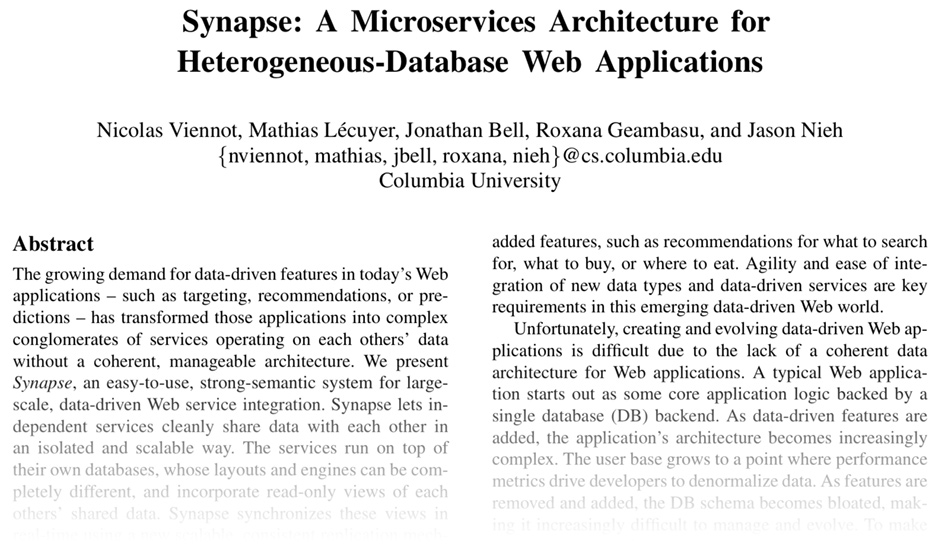Synapse: A Microservices Architecture for Heterogeneous-Database Web Applications