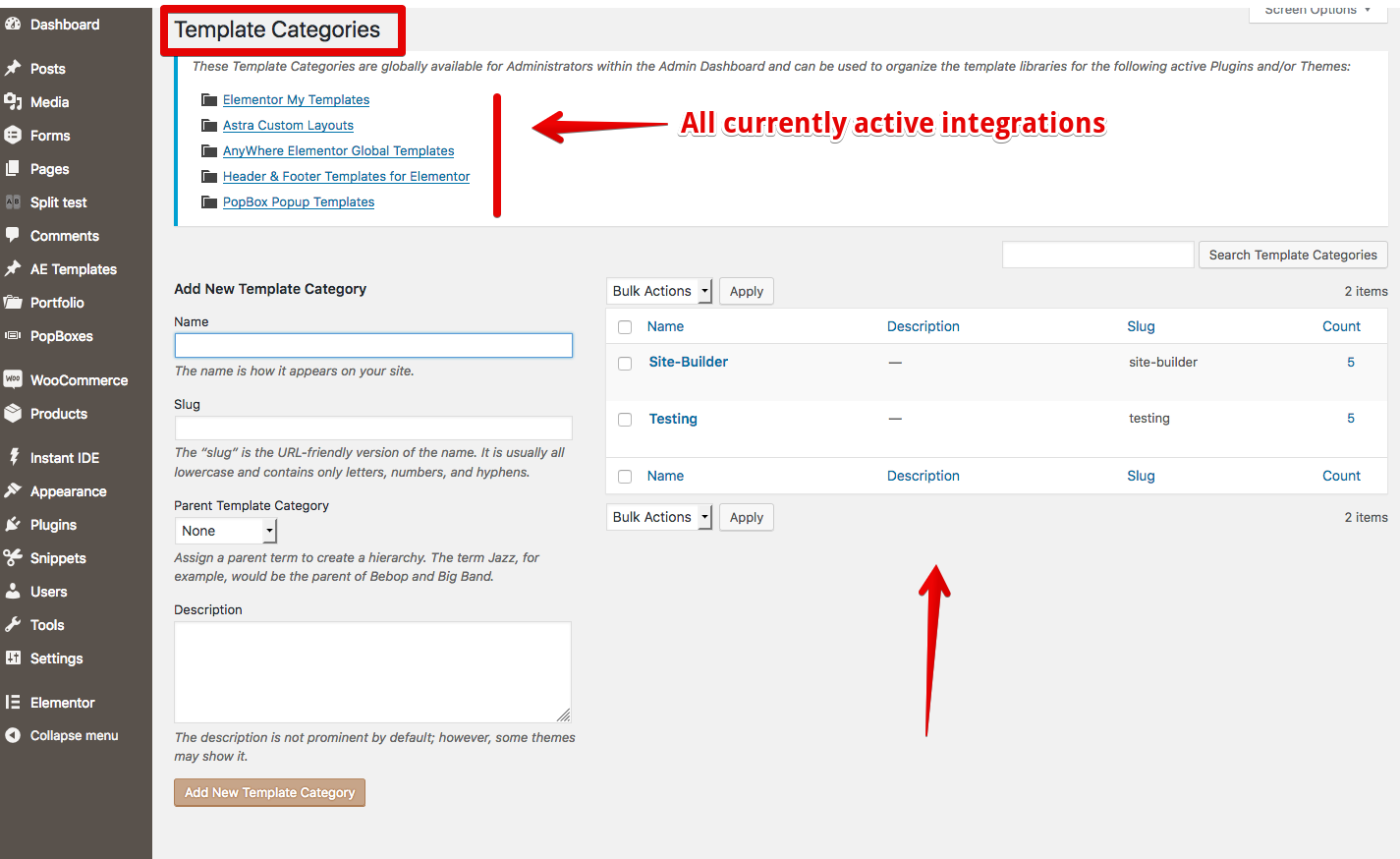 List of Template Categories - plus help info about all current active integrations
