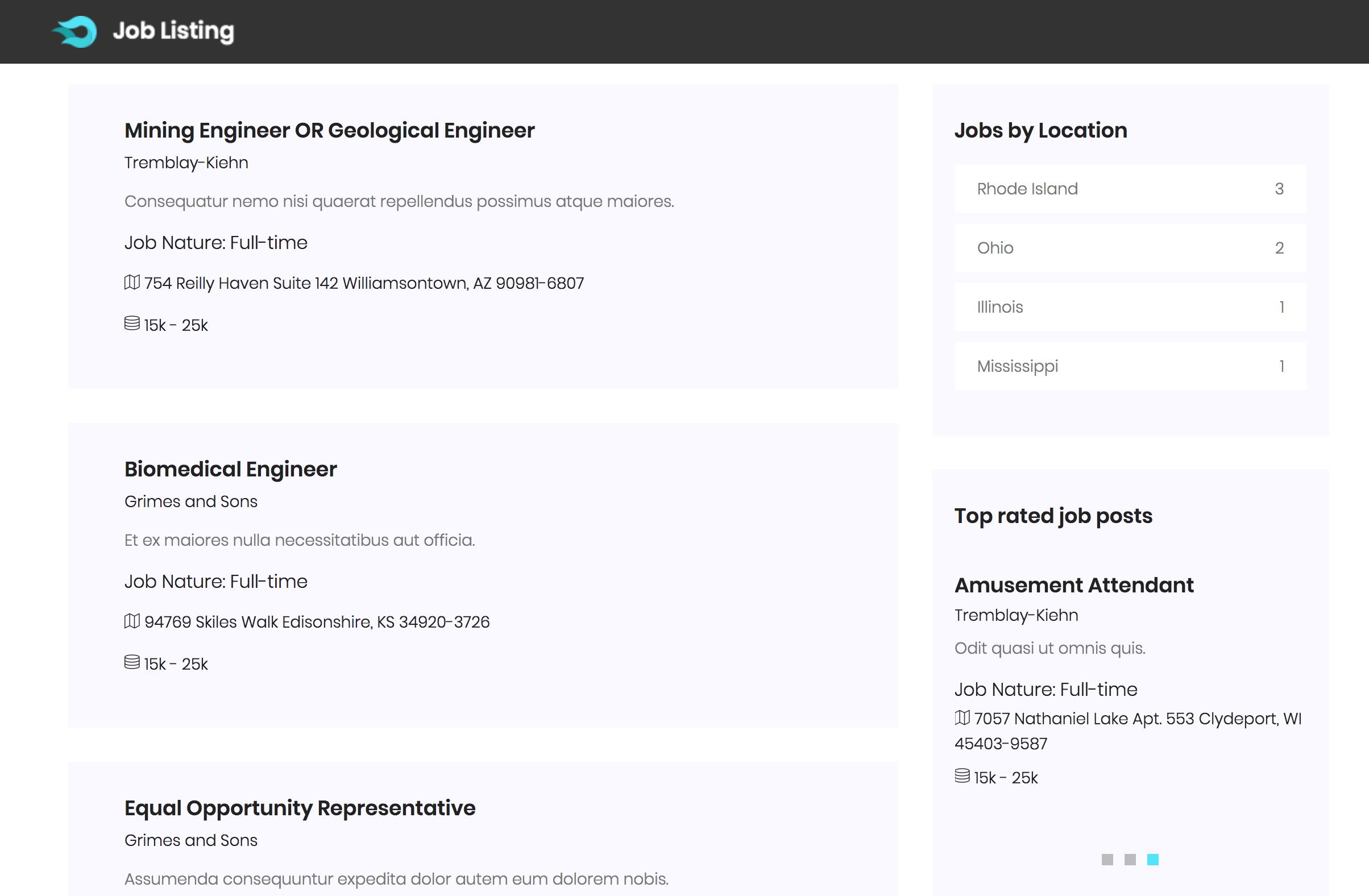 Laravel Job Listings Results