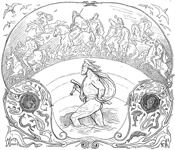 Thor wades rivers while the rest of the æsir ride across the bridge Bifröst as described in Grímnismál.