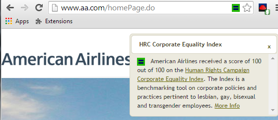 HRC score displayed on AA website