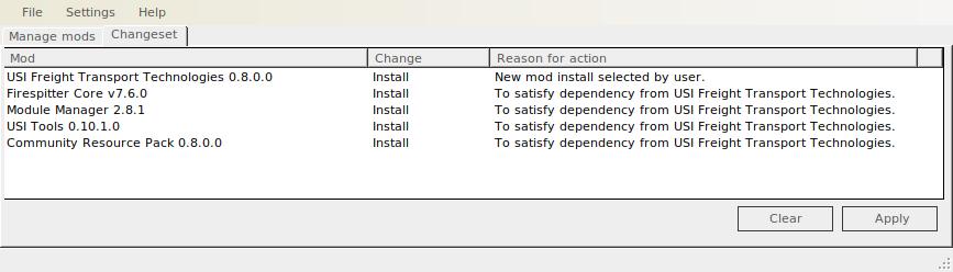 USI FTT changeset tab