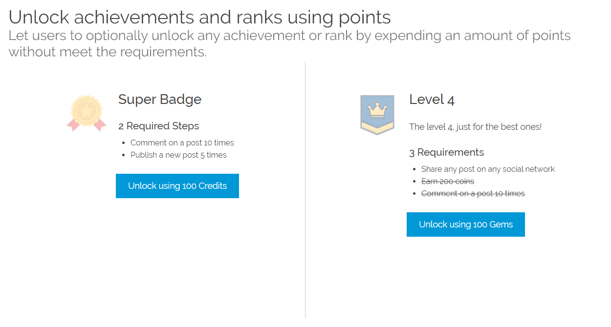 Let users to optionally unlock any achievement or rank by expending an amount of points without meet the requirements.