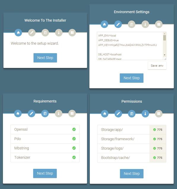 Laravel web installer
