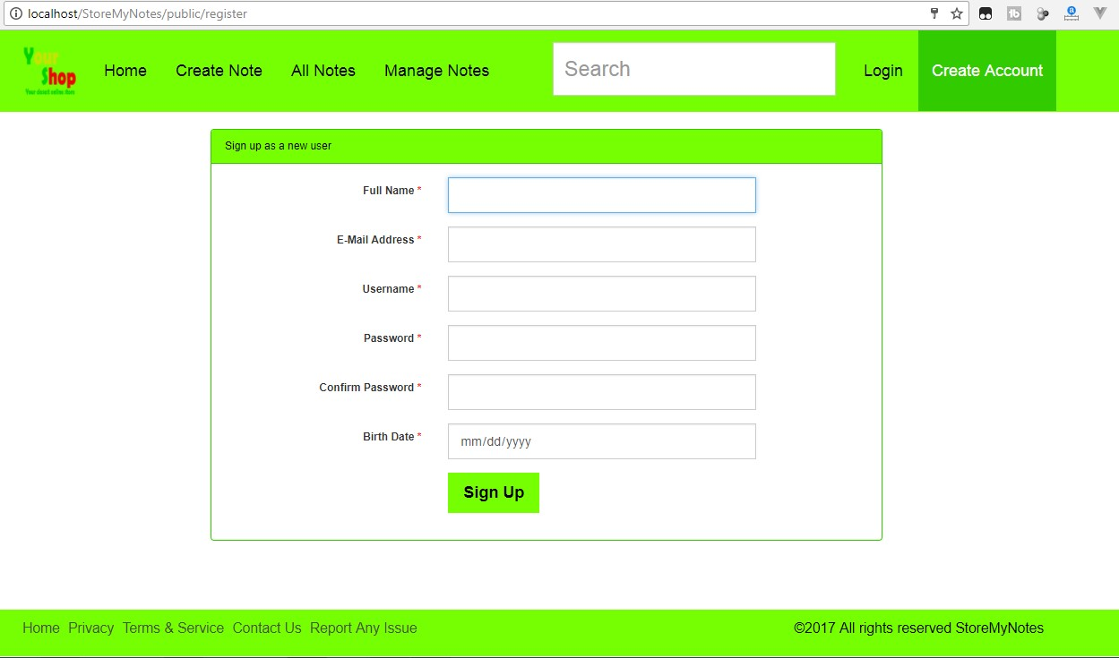 User Registration Page Laravel - Store My Notes