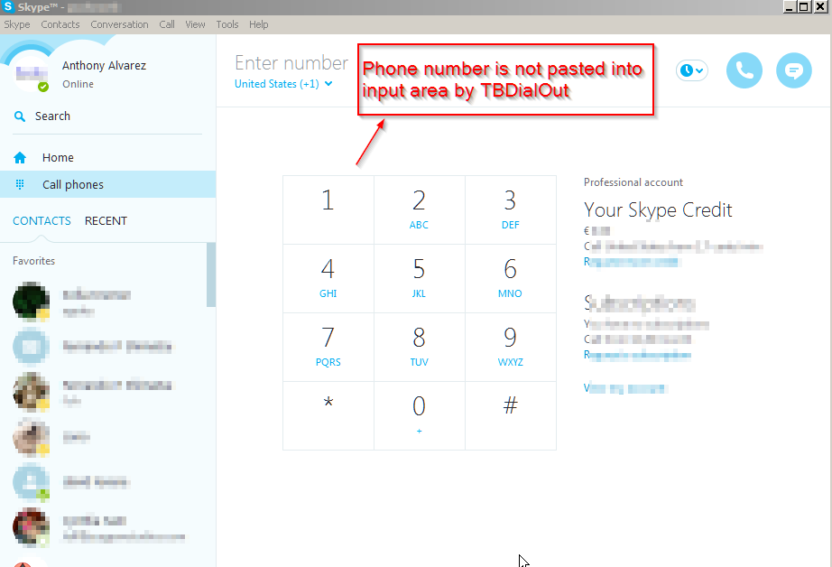 Does not paste cell phone numbers in Skpe call cell phone