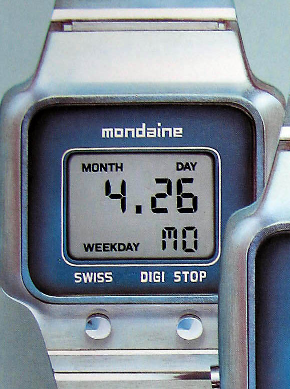 Image of a Mondaine digital wristwatch