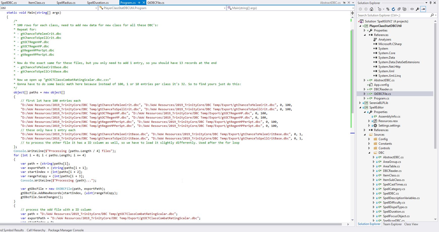 Screenshot of program code for adding gt DBC data