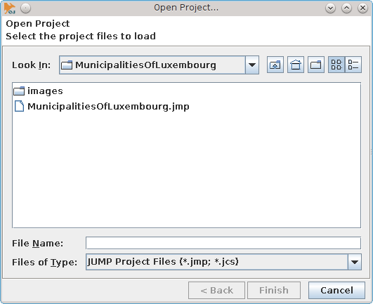 OpenJUMP GIS - opening the project