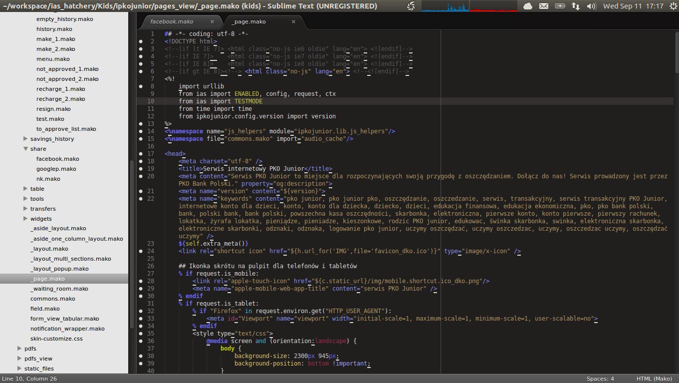 anaconda lints mako template files when Mako plugin is installed ...
