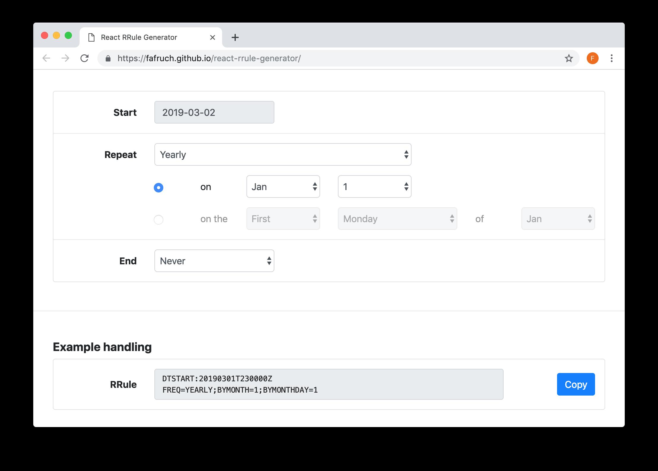 GitHub - Fafruch/react-rrule-generator: Recurrence rules