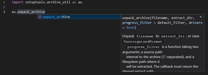 Intellisense not showing docstrings from /lib/site-packages