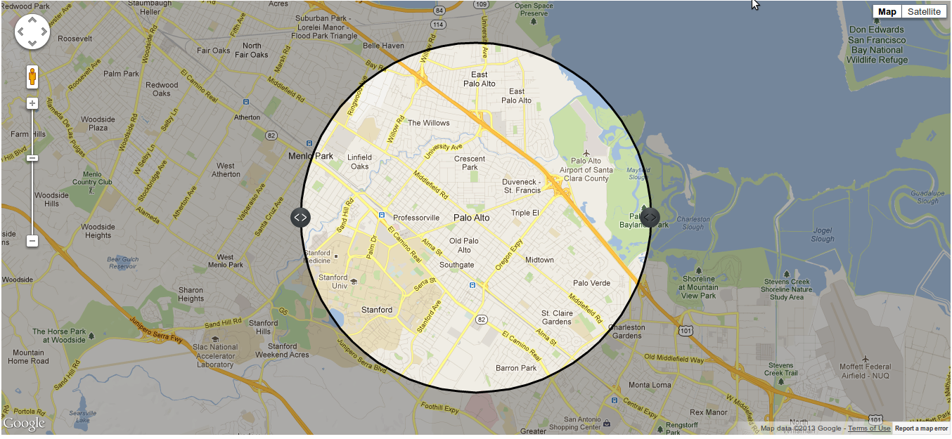 Inverted Circle on Google Map