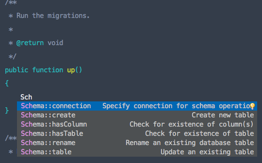 Laravel Schema Screenshot