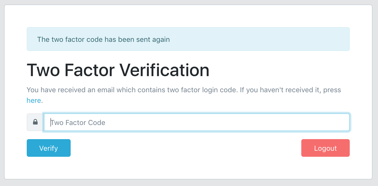 Laravel two-factor authentication form