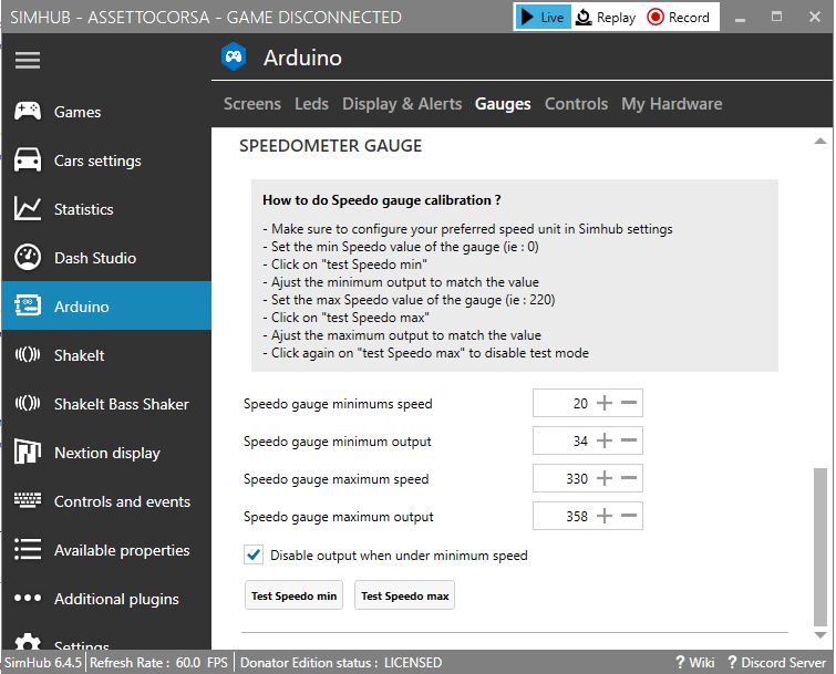 Arduino After Market Speedo support · SHWotever/SimHub Wiki