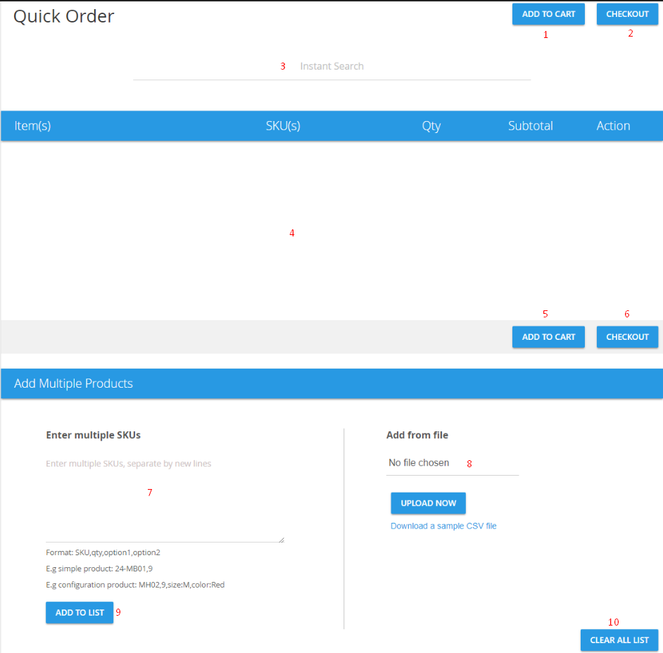 interface of quick order