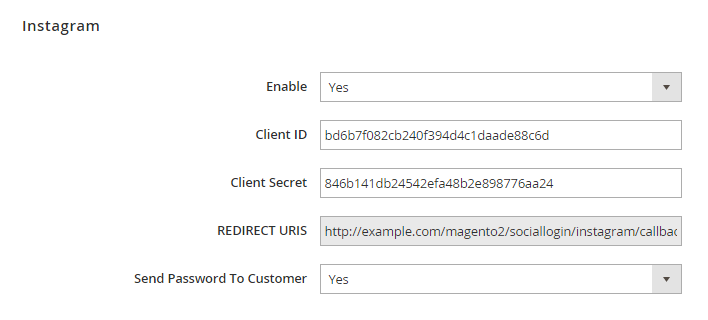 Magento 2 social login with instagram sign in button