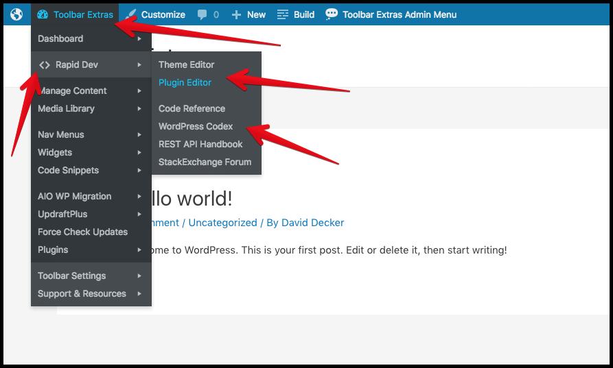 "Toolbar Extras - optional ""Dev Mode"" - links for developers, including the Code Editors"