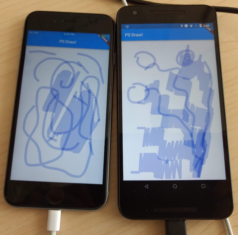 P5 drawing sketch running in iPhone 6S and Nexus 5X