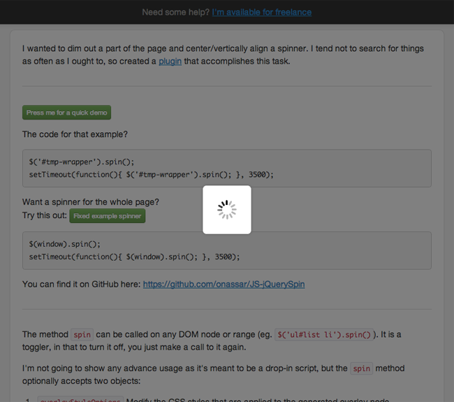 GitHub - onassar/JS-jQuerySpin: Overlays desired DOM element