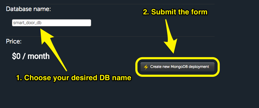 Mongolab set DB name and submit form