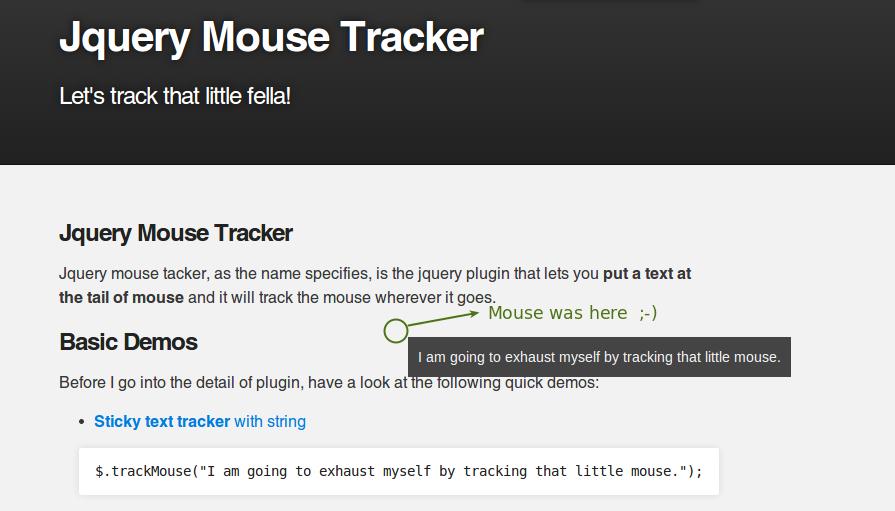 GitHub - kamranahmedse/jq-track-mouse: Jquery plugin that lets you